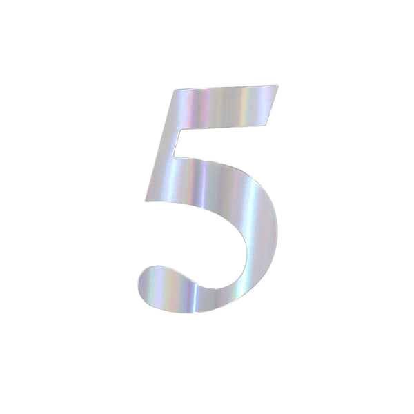 "4 Pack - 5"" Iridescent Number Stickers Banner, Customizable Stick on Numbers - 5"