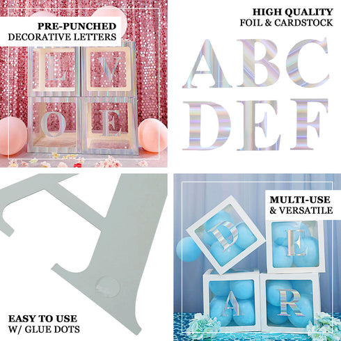 "4 Pack - 5"" Iridescent Pre-punched Decorative Letters with Glue Dots - D"