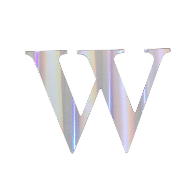 "4 Pack - 5"" Iridescent Pre-punched Decorative Letters with Glue Dots - W"