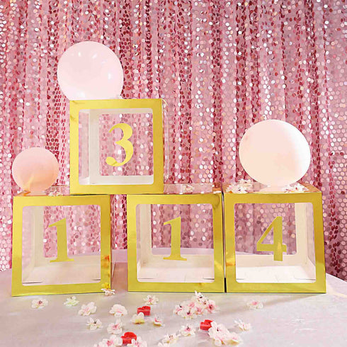 4 Pack | 5 Inch | Gold Pre-punched Decorative Letters with Glue Dots - 0 | eFavormart