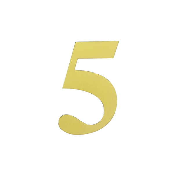 "4 Pack - 5"" Metallic Gold Number Stickers Banner, Customizable Stick on Gold Numbers - 5"