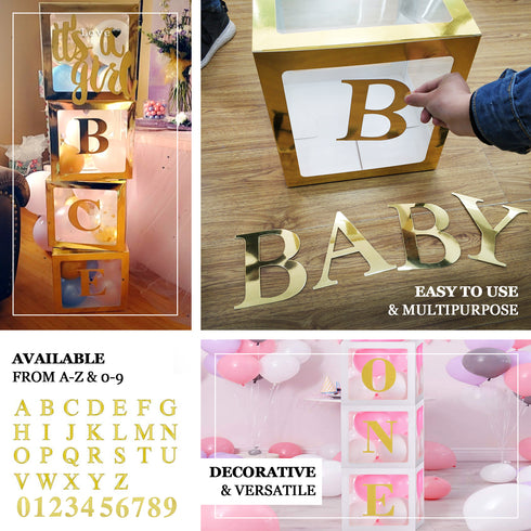 "4 Pack - 5"" Metallic Gold Alphabet Stickers Banner/Garland Gold Letters - R"