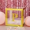4 Pack | 5 Inch | Gold Pre-punched Decorative Letters with Glue Dots - P | eFavormart