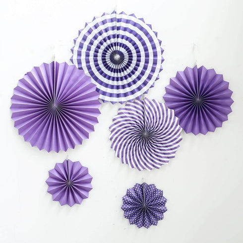 "Set of 6 - Purple Paper Fan Decorations - Paper Pinwheels Wall Hanging Decorations Party Backdrop Kit - 8"", 12"", 16"""
