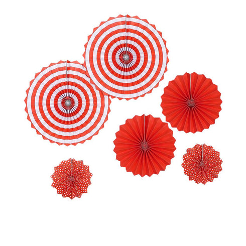 "Set of 6 - Red Paper Fan Decorations - Paper Pinwheels Wall Hanging Decorations Party Backdrop Kit - 8"", 12"", 16"""