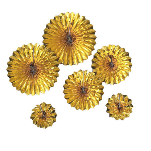 "Set of 6 - Metallic Gold Paper Fan Decorations - Paper Pinwheels Wall Hanging Decorations Party Backdrop Kit - 8"", 12"", 16"""