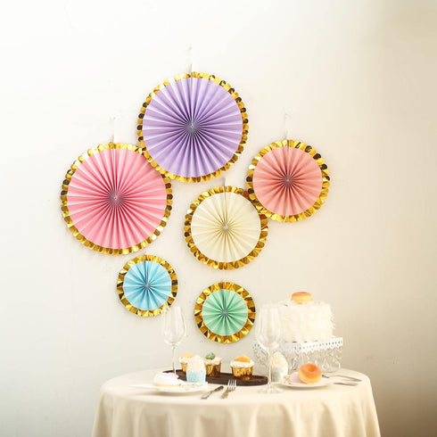 "Set of 6 - Assorted Paper Fan Decorations with Gold Foil Rim - Paper Pinwheels Wall Hanging Decorations Party Backdrop Kit - 8"", 12"", 16"""