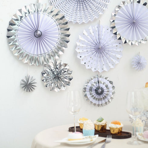 "Set of 8 - Silver - White Paper Fan Decorations - Paper Pinwheels Wall Hanging Decorations Party Backdrop Kit - 4"", 8"", 12"", 16"""