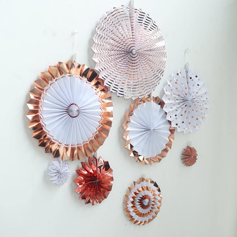 "Set of 8 - Rose Gold - Gold Paper Fan Decorations - Paper Pinwheels Wall Hanging Decorations Party Backdrop Kit - 4"", 8"", 12"", 16"""