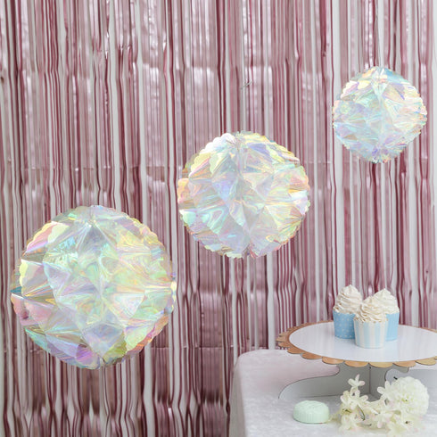 "3 Pack - 3-D Honeycomb Hanging Decorations - Iridescent Honeycomb Party Fan Decorations - 6"", 8"", 10"""