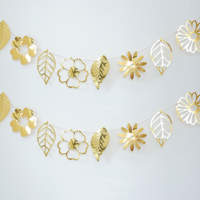 7FT | Gold Foiled Paper Large Flowers & Leaves Hanging Garland