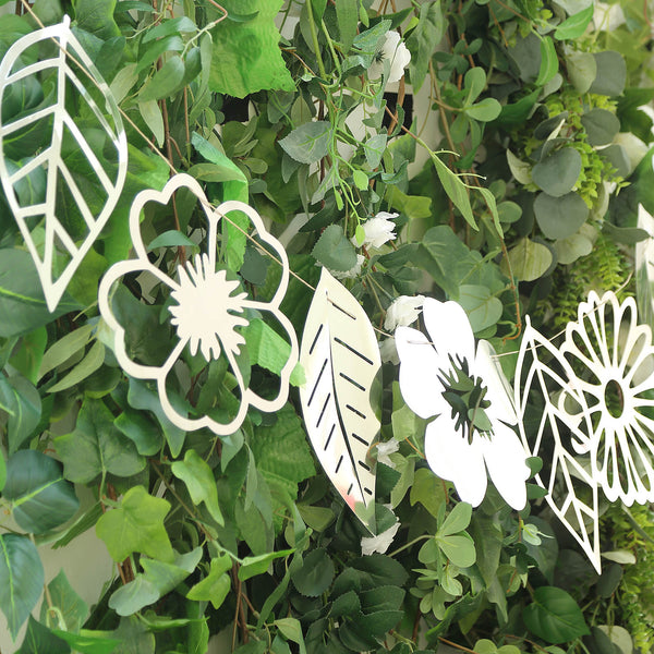 7FT | Silver Foiled Paper Large Flower & Leaf Hanging Garland