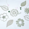 7 ft | Silver Foiled Paper Large Flower & Leaf Hanging Garland