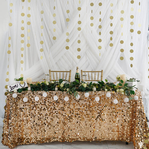 "Set of 3 - 90"" Long Circle Dot Party Paper Garland, Streamer Backdrop Hanging Decorations - Glitter Gold"