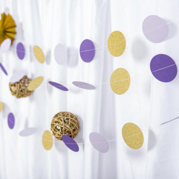 "Set of 3 - 90"" Long Circle Dot Party Paper Garland, Streamer Backdrop Hanging Decorations - Lavender,Purple,Glitter Gold"