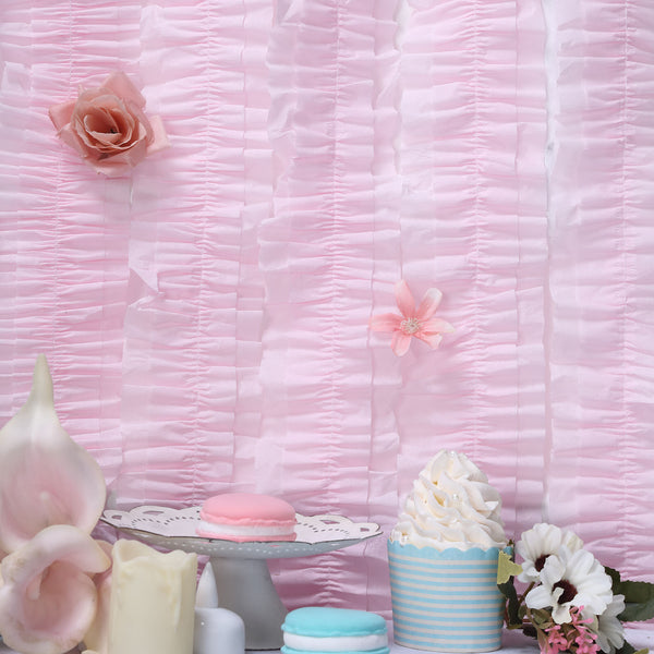 3 Rolls - 28FT Blush Ruffled Paper Strand | Streamer Backdrop - DIY Tissue Paper Garland Hanging Decorations