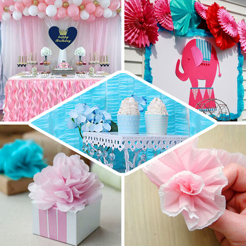 3 Rolls - 28 FT Blue Ruffled Paper Strand | Streamer Backdrop - DIY Tissue Paper Garland Hanging Decorations