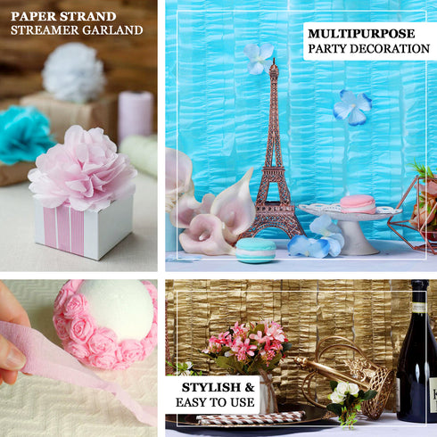 3 Rolls - 28 FT Blush Ruffled Paper Strand | Streamer Backdrop - DIY Tissue Paper Garland Hanging Decorations