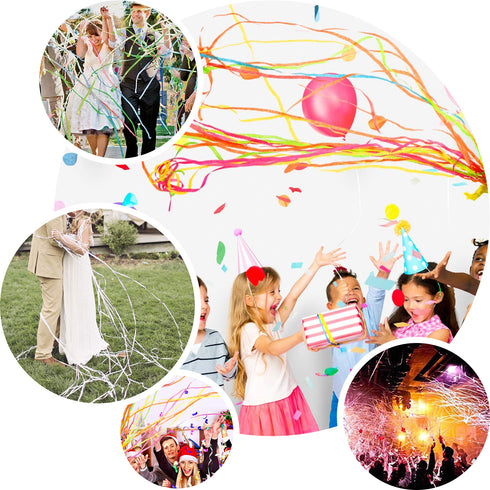 5 Pack - White Hand Throw Streamers, Paper Streamers Confetti Popper Party Favors