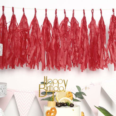 Mesmerizing Tissue Paper Tassel Garland 12/pk - Red