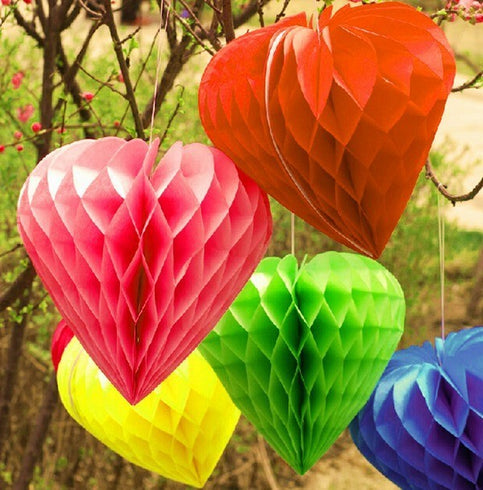 "12 Pack 16"" White Heart Shaped Paper Honeycomb Lantern Hanging Decoration"