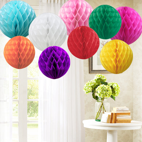 "12 Pack 16"" Ivory Round Paper Honeycomb Lantern Hanging Decoration"