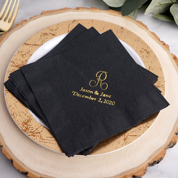 100 Pcs - Personalized Initial Wedding Napkins, Custom Cocktail Napkins, Wedding Favors