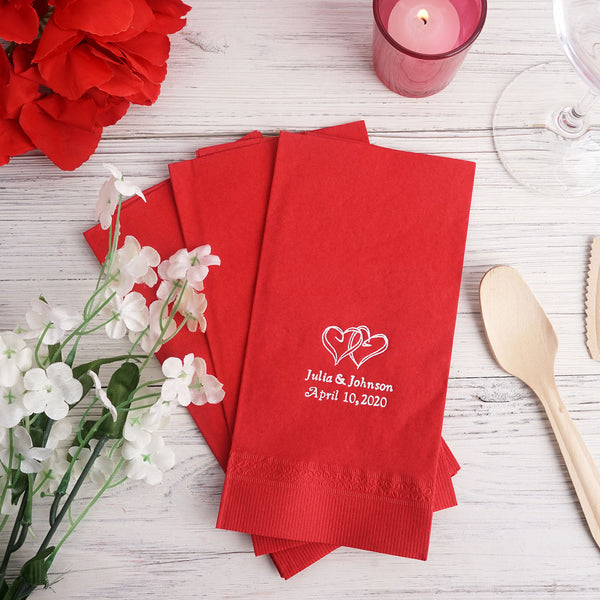 100 Pcs Personalized Wedding Napkins, Dinner Napkins, Wedding Favors (Large Emblem)