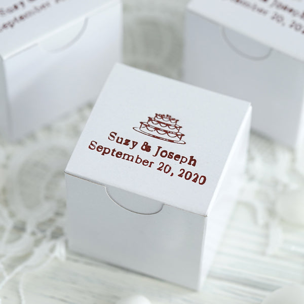 "100 Pcs Personalized Wedding Favors, Party Favor Boxes, Cake Box - 2""x 2""x 2"""