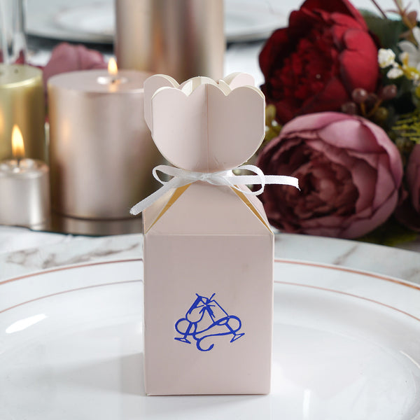 100 Pcs Vase Shape Personalized Wedding Favors, Party Favor Boxes with Satin Ribbon - Large Emblem