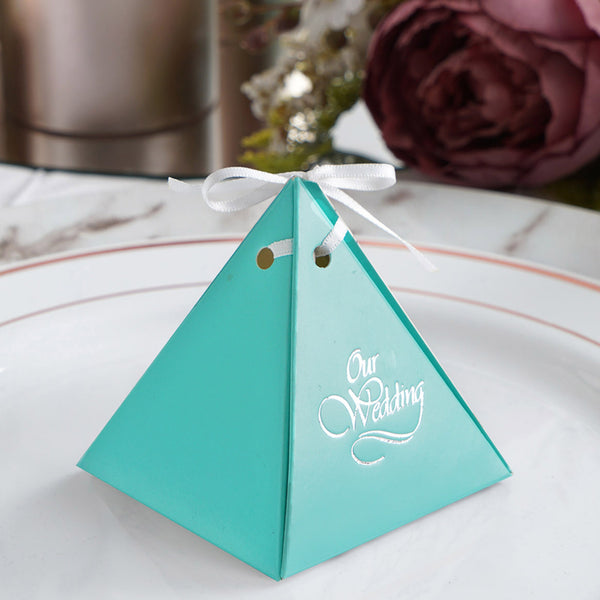 100 Pcs Pyramid Shape Personalized Wedding Favors, Party Favor Boxes with Satin Ribbon - Large Emblem