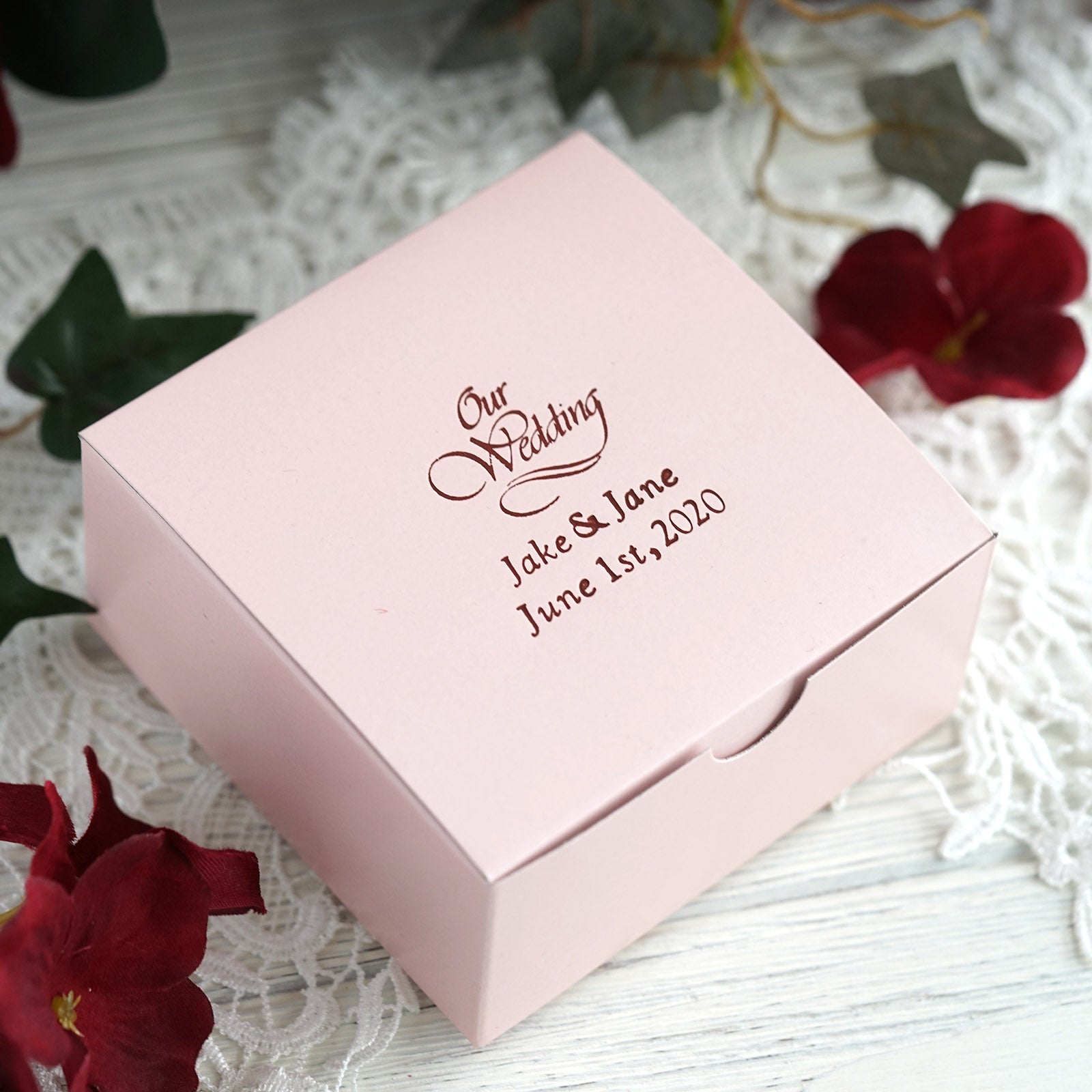 Red Foil Printing on a Pink Box