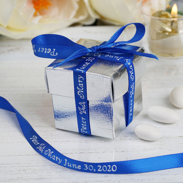 "25 Yards - 3/8"" Continuous Personalized Ribbon for Wedding Favors, Satin Ribbon"