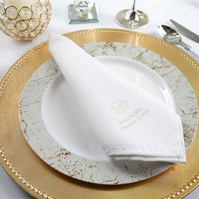 50 Packs Personalized Custom Print Polyester Dinner Napkins (Large Emblem)