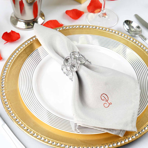 50 Packs Personalized Linen Napkins Monogrammed Wedding Dinner Cloth Napkin