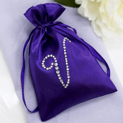 "4x6"" Personalized Diamond Letters Satin Drawstring Bags - 100 Pack"