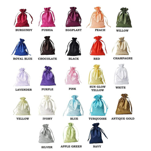 "100 Pack 5x7"" Personalized Satin Drawstring Party Favor Gift Pouch"