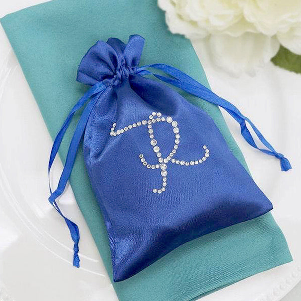 "100 Pack - 5x7"" Personalized Wedding Favors, Diamond Letters Satin Drawstring Bags"