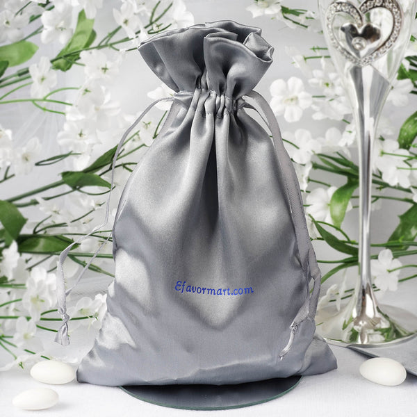 "100 Pack - 6x9"" Personalized Wedding Favors, Satin Drawstring Bags"
