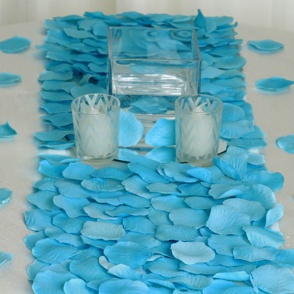 500 Turquoise Silk Rose Petals For Table Confetti