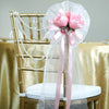 "24"" Pink Craft Rose Flower Pew Bows With Burlap Ribbon"