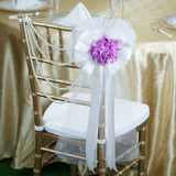 "24"" Satin And Organza Ribbon With Lavender Hydrangea Bush Pew Bows"