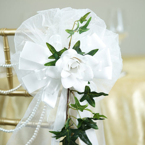 "24"" Satin Ribbon With Pearl Spray Accented Roses On English Ivy Pew Bows"