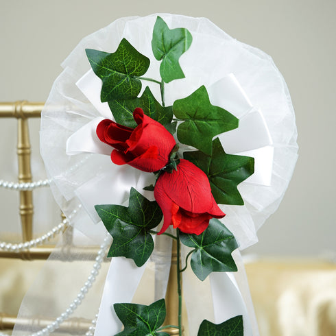 "24"" Satin Organza Ribbon With Pair of Velvet Roses English Ivy Pew Bows"