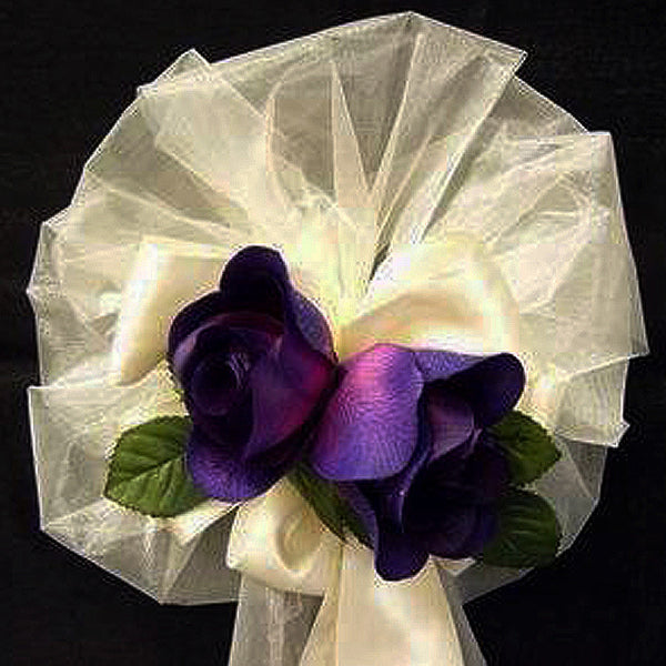 Gift from the Heavens - Purple Rose With Silk Ivy Pew Bows