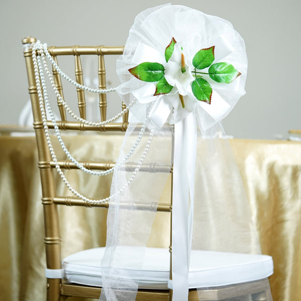"24"" Satin Organza Ribbon With Calla Lilies On Green Leaves Pew Bows"