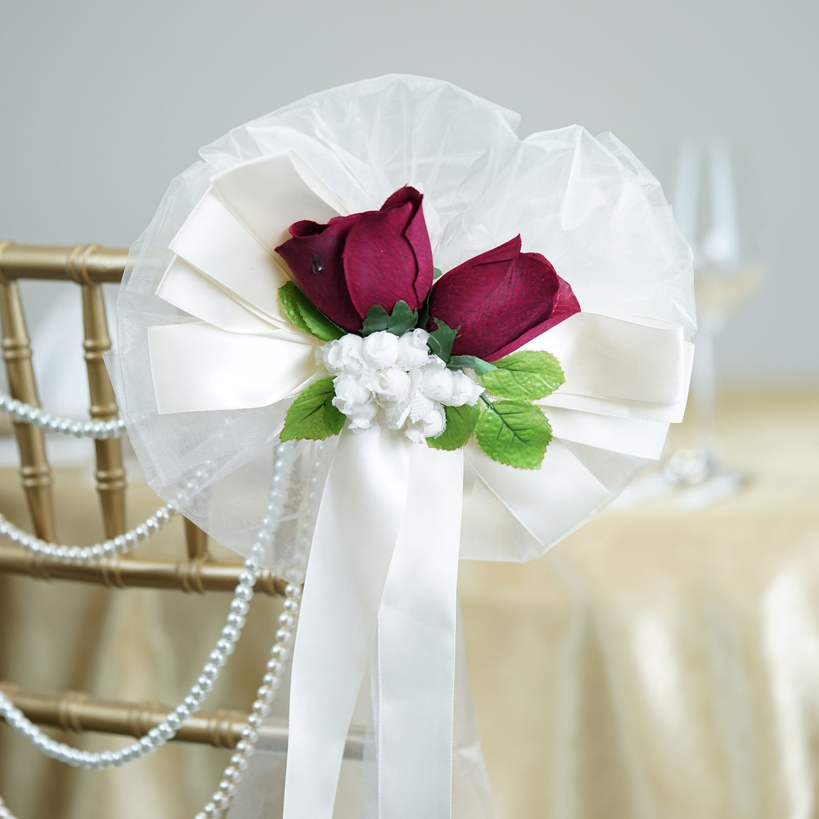 24 Quot Satin Ribbon With Dark Red Burgundy Velvet Roses On