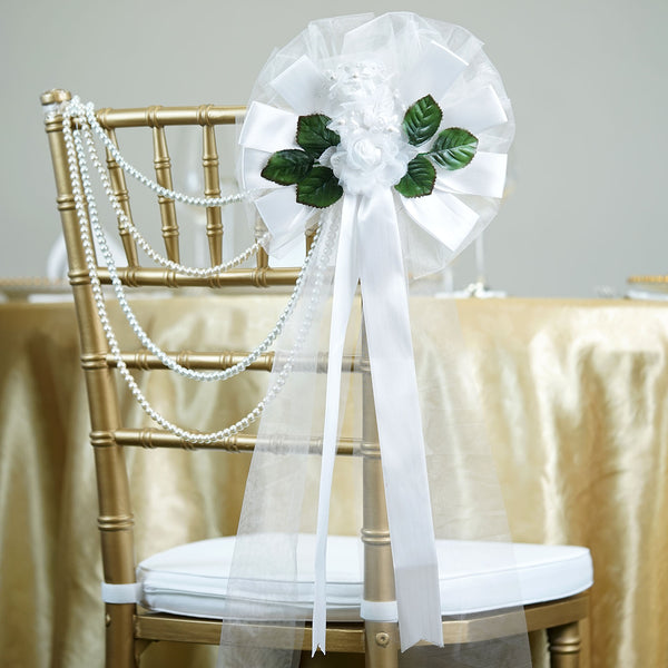 "24"" Satin Ribbon With Pearl Accented Rose On Green Leaves Pew Bows"