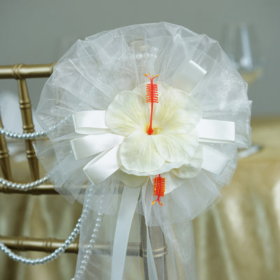 "24"" Organza Ribbon With Pair Of Habiscus Flower Pew Bows"