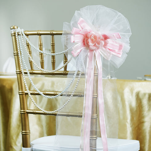 "24"" Satin Organza Ribbon With Multi-Tier Pearl Accented Pink Rose Pew Bows"